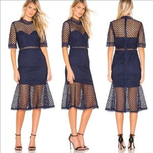 Bardot Fiona Mesh Lace Trumpet Flare Skirt Dress